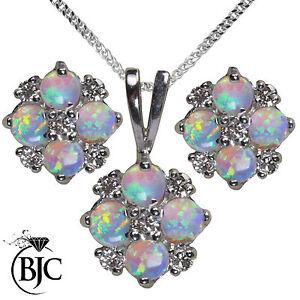 Diamanten & Edelsteine Humorous Bjc 9 Karat Weiss Gold Natürlich Opal & Diamant Halskette Anhänger & Ohrstecker Echtschmuck