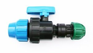 Reducing-Pipe-Joiner-with-In-Line-Ball-Valve-MDPE-Compression-Fittings