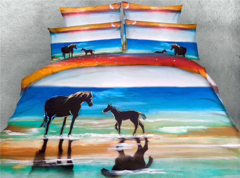 Sprightly Pony 3D Printing Duvet Quilt Doona Covers Pillow Case Bedding Sets