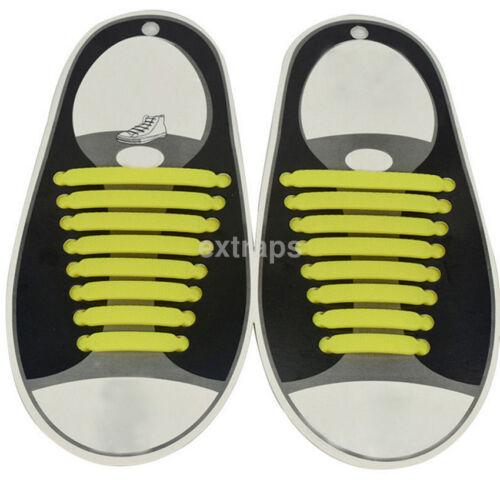 16Pcs//Lot No Tie Shoelaces Silicone Shoelaces Elastic Shoe Laces for Sneakers