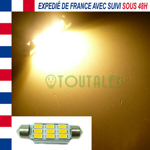 AMPOULE LAMPE NAVETTE C10W 42MM 12V 9 LED 5630 BLANC CHAUD CAMPING CAR BATEAU