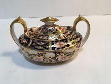 Antique Royal Crown Derby Traditional Imari 2451 Lidded Sugar Bowl Circa 1900