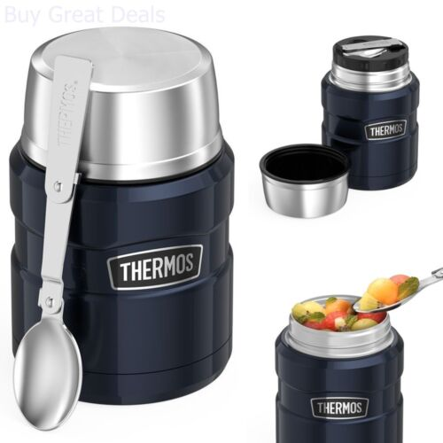 Insulated Food Jar Stainless Steel Spoon 16 oz Thermos Hot Cold Soup Coffee Mug