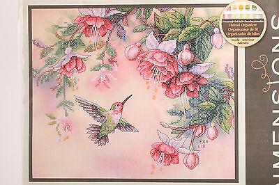"""Dimensions Lena Liu Stamped Cross Stitch Kit 14"""" x 12"""" Hummingbird & Fuchsias"""