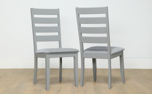 2 4 6 8 Grove Painted Grey Dining Chair (Grey Fabric Seat Pad)