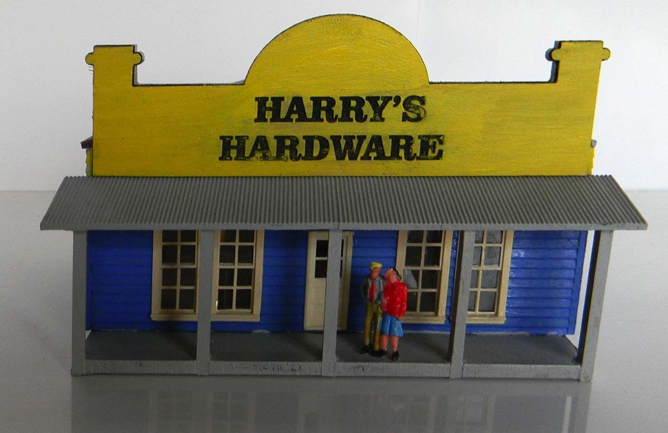 HO scale building Harry's hardware store built not a kit