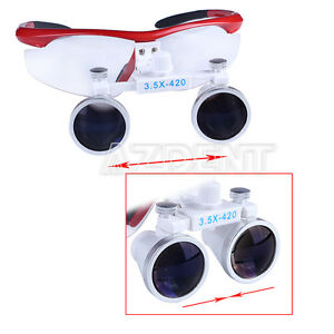 1-SET-Dental-Surgical-Medical-Binocular-Loupe-Optical-Glass-3-5X-420mm