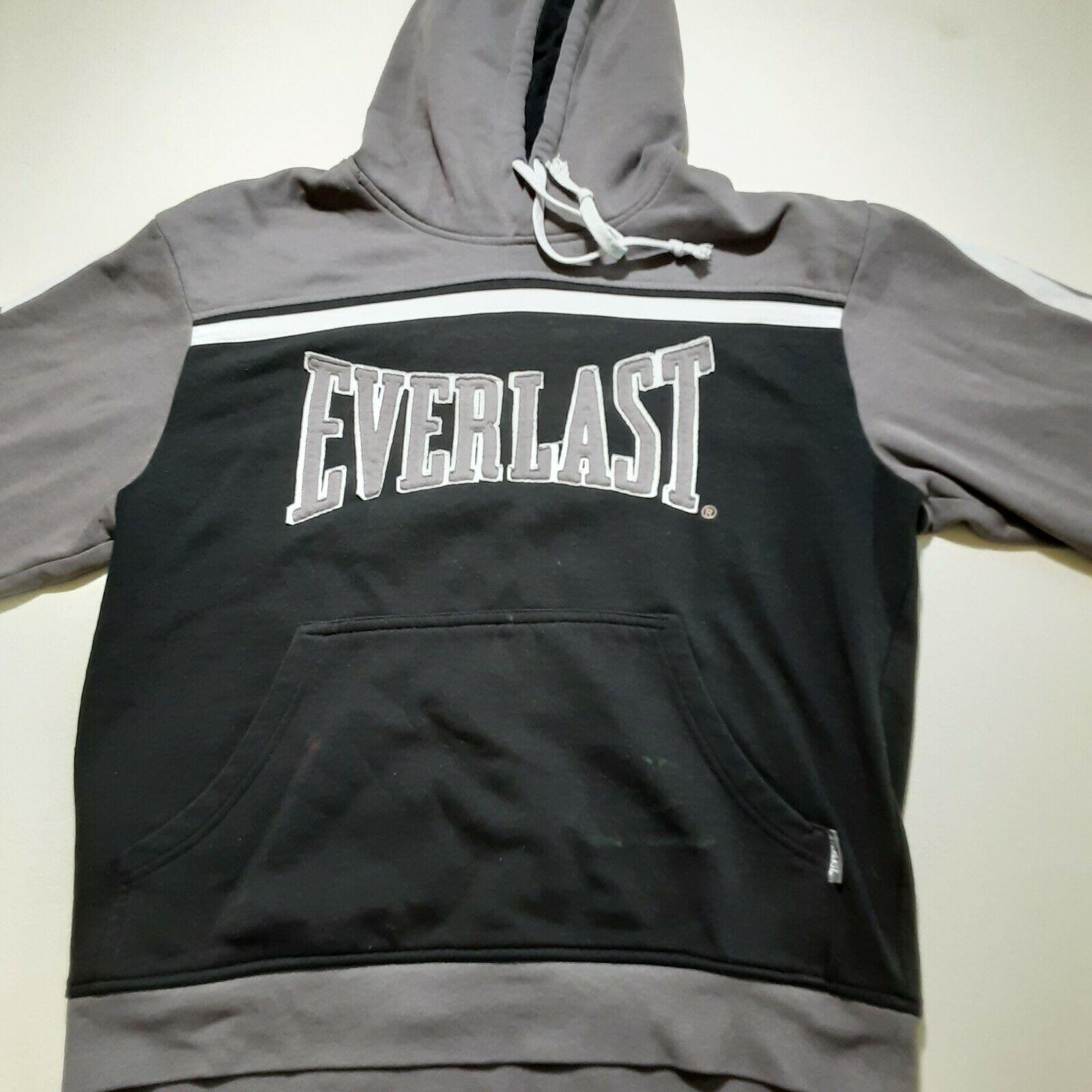 Everlast Mens Hoodie Black Hooded sweatshirt Size Small Spellout Logo