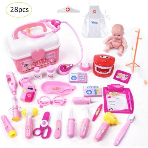 28Pcs Doctor Medical Toy Set Nurse Carry Box Kid Role Play Pretend Kit Case UK