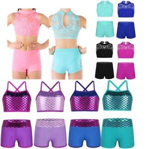 Girls-Sequins-Mermaid-Dance-Leotards-Gymnastics-Sport-Outfit-Tank-Top-Shorts-Set