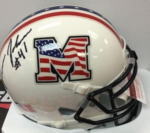 Devon Johnson Marshall Thundering Herd Signed Military Bowl Mini Helmet JSA