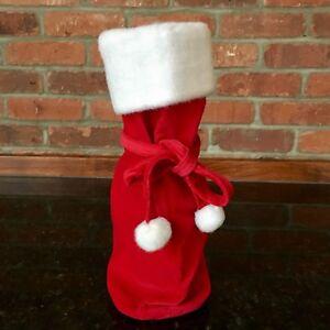 Christmas Liquor.Details About 12 New Wine Liquor Bottle Red Velvet Faux Fur Trim Gift Bag Christmas Holiday