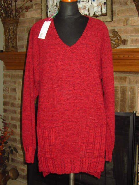 NWT NEW LAGENLOOK  ARTSY TEXTURES RASPBERRY RED KNIT SWEATER TOP  0  S M