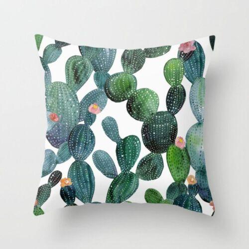 Coussins Rétro Feuilles Vertes Cactus Linge Coton Polyester Décoration Canapé
