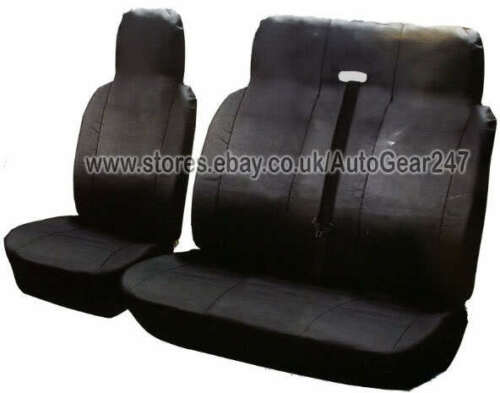Plain Black Leather Look Van Front AirBag OK Double Single Seat Covers Protector