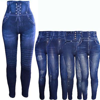 Damen Hochbund Bauchweg Mieder Leggings Miederhose Jeans Look Treggins Leggins | eBay