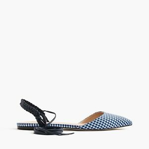 8447112fc4 J.Crew Pointy Toe Gingham Lace Up Flats Size 7 NWOB $178 f1189 Blue ...