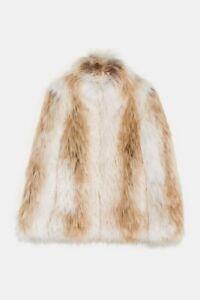 Zara Aw18 S Faux Taglia Fur Women Nwt Coat rBOqr5