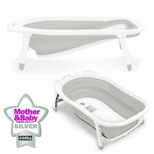 Karibu Baby Fold Away Bath Travel Bath Tub From Birth Award Winning White Grey