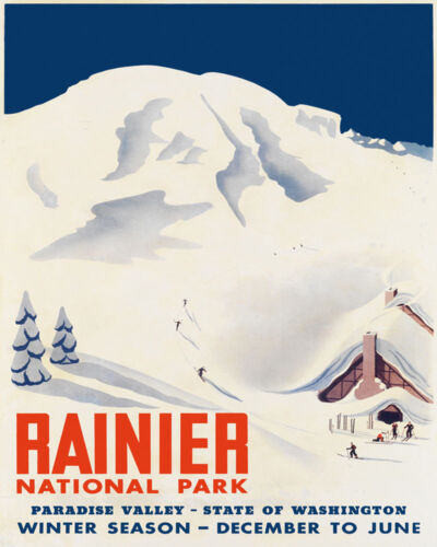 Ski Skiing Rainier National Park Washington Sport 16X20 Vintage Poster FREE S//H