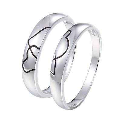 Couple Love Heart 925 Sterling Silver Wedding Bands Rings Size 4.5-10 Sy71