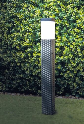 Brown Solar Power Rattan Effect  Post Light Path//Walkway Outdoor Lamp LED Light
