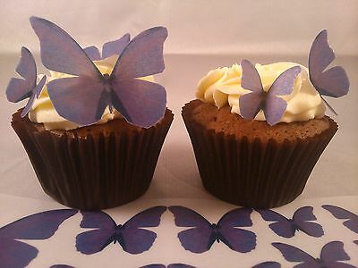 42 Mixed Size Edible Butterflies Wedding Celebration Cake Decoration Purple