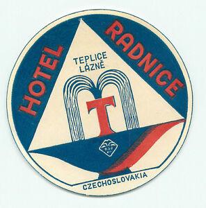 TEPLICE-LAZNE-CZECHOSLOVAKIA-CZECH-REPUBLIC-HOTEL-RADNICE-VINTAGE-LUGGAGE-LABEL