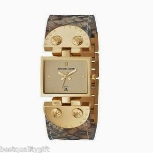 89798cb6ac02 Image is loading NEW-MICHAEL-KORS-BEIGE-BROWN-PYTHON-LEATHER-GOLD-