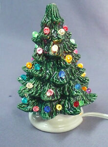 small ceramic painted light up christmas tree electric