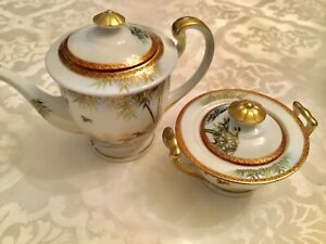 RARE-17th-C-Signed-Kutani-Japan-Porcelain-Gilt-Teapot-And-Sugar