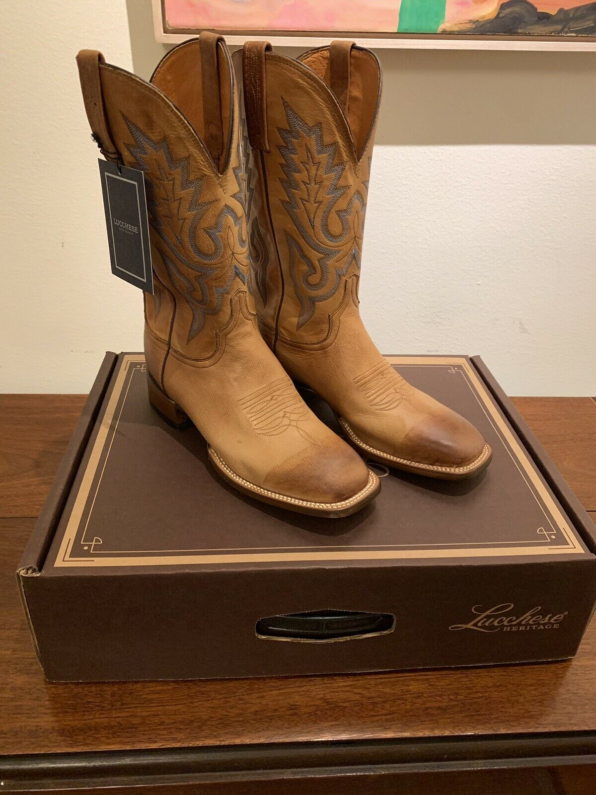 New   445 Lucchese Sz 8.5 KD6505 Limited Ed. Tan Cowboy stivali. Made In USA.