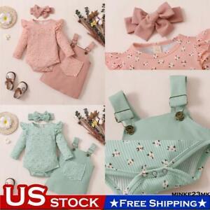 Newborn Baby Girls 3PCS Clothes Set Romper Jumpsuit Skirt Dress Headband Outfits