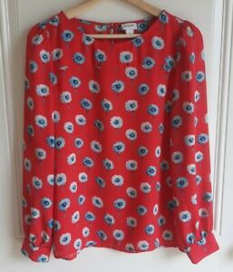 J-Crew-Womens-Red-Blue-Longfellow-Floral-Printed-Blouse-Top-Shirt-Size-Small