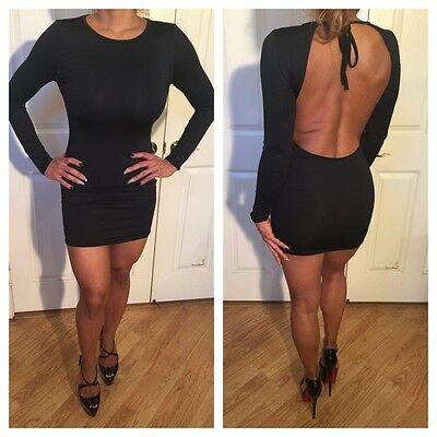 Connie's Semi Sheer Backless Long sleeve Black Mini Dress L