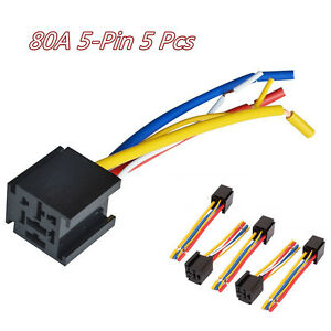 5 Pcs/Set Plastic& Metal Car Truck 80A 5Pin Wire Relay Socket Harness Connector