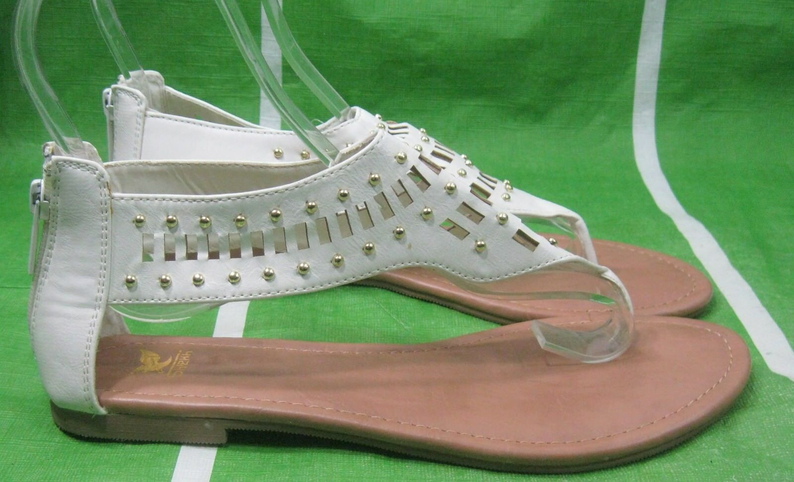 NEW LADY Summer White Gold Gladiator Stud Womens Shoes Roman Gladiator Gold Sandals Size 5.5 722536