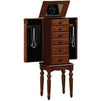 Armoire Jewelry Cabinet Box Storage Chest Stand Organizer Necklace Wood
