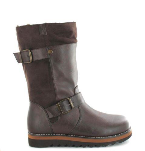 Ella Shoes Willow Vegan Mid Calf Buckle Boots Black /& Brown