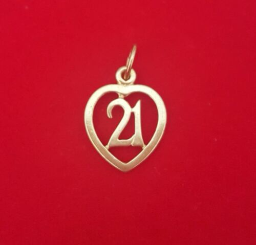 NEW 9ct Yellow Gold Solid 21st Charm 375 Pendant 9KT Birthday Twentyone Adult 9K