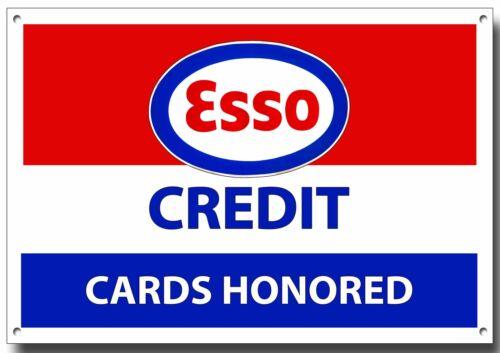 ESSO CREDIT CARDS HONOURED METAL SIGN. ESSO PETROL SIGN,GARAGE SIGN.