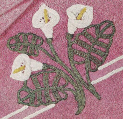 Vintage Crochet Pattern Calla Lily Motif Applique Embrd Ebay