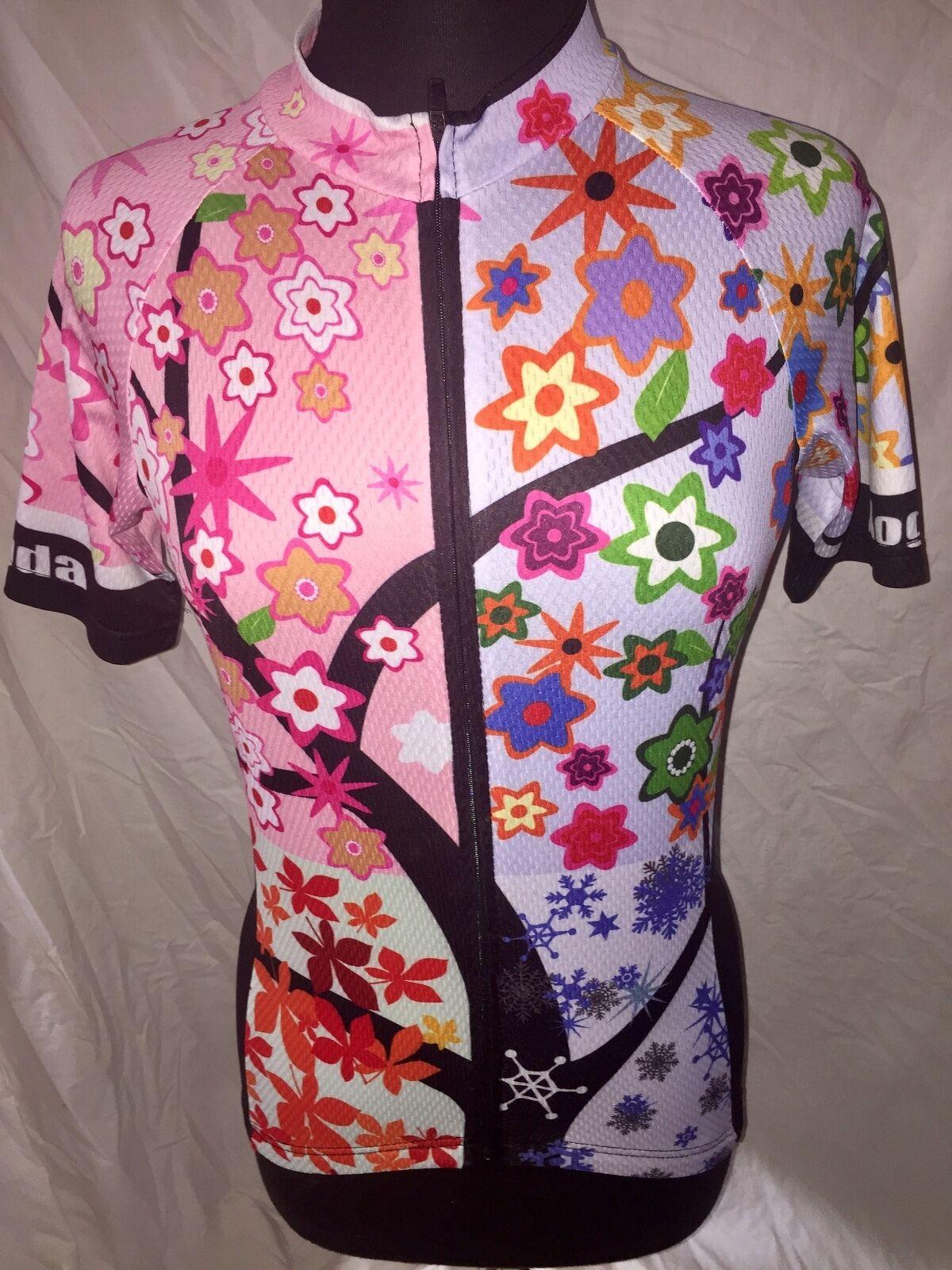 Aogda Cycling Biking Jersey Flowers Leaves Snowflakes Full Zipper Women's Medium