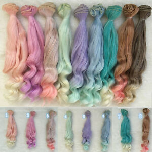 12-25cm-Long-DIY-Colorful-Ombre-Curly-Wave-Doll-Wigs-Synthetic-Hair-For-Dolls