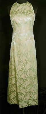 2019 Neuestes Design Vintage 597ms Lang Seide Limettengrün Mit Gold Brokat Abendkleid Sz 2-4