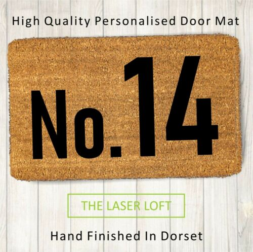 Coir Door Mat House Number 40cm x 60cm Can Be Personalised