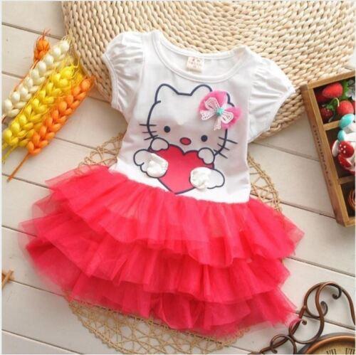 summer style girls dress Hello kitty cartoon KT wings tutu dress bow veil Kids