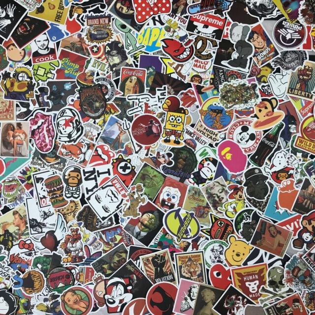 100 New Random Skateboard Stickers bomb Laptop Luggage Decals Dope Sticker Lot
