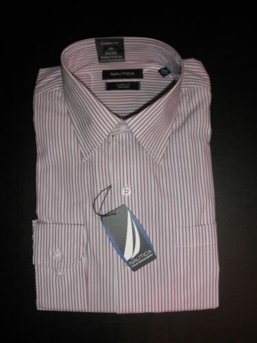NWT $69 Nautica Men/'s Classic Fit Traveler L//S Dress Shirt Non-Iron 16 34//35