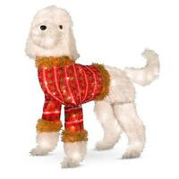Outdoor Lighted Christmas Poodle Dog Wearing Sweater Sculpture Holiday Decor